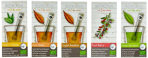 Bistrotea Tee Sticks, 5er Collection - Früchtetee, Kräutertee, Grüntee Zitronengras, Schwarztee Earl Grey & English Breakfast, (75 Teesticks x 1,8g) 135 g, 79001