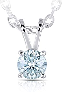 Platinum Plated Silver 1ct 6.5mm Heart Arrows Cut Moissanite Pendant Necklace Solitare With Platinum Plated Silver Chain for Women