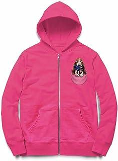 Fox Republic ハウンドドッグ 星条旗 アメリカ ポケット 犬 ピンク キッズ パーカー シッパー スウェット トレーナー 150cm