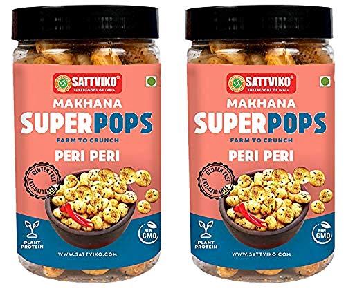 Sattviko Peri Peri Makhana Superpops, Healthy Snacks, (2x67 g), Lotus Seeds, Fox Nuts, Diet Food, Gluten Free, Vegan Snacks,...