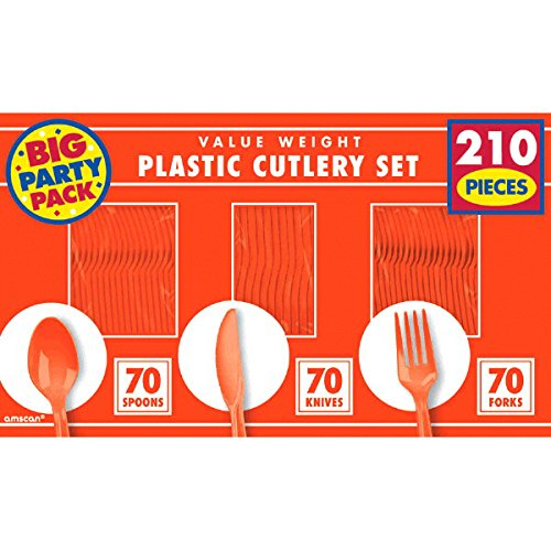 Great Features Of Big Party Pack Window Box Cutlery Set | Orange Peel | Party Supply | 1680 ct.