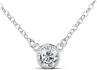 Metal Factory 925 Sterling Silver Round Cut CZ Cubic Zirconia Solitaire Pendant Necklace