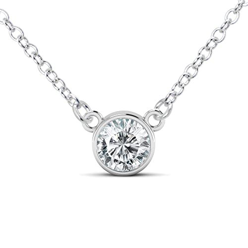 3a054f5c2 Metal Factory 925 Sterling Silver Round Cut CZ Cubic Zirconia Solitaire  Pendant Necklace
