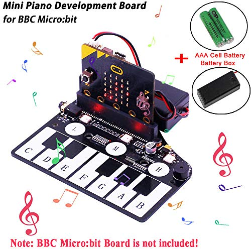 MakerFocus BBC Microbit Accesories Mini Piano Module for BBC Micro:bit Board, Touch Keys to Play Music, Micro:bit Edge Connector Directly Pluggable, with RGB LED, Buzzer to Play Music