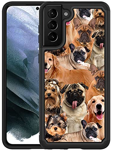 Glisten Samsung Galaxy S21 5G Case [6.2 inch] - Dog Collage Pug Printed Designer Hybrid Case - Unique Heavy Duty & Military Grade Protection & Shockproof Case/Cover for Samsung Galaxy S21 5G.
