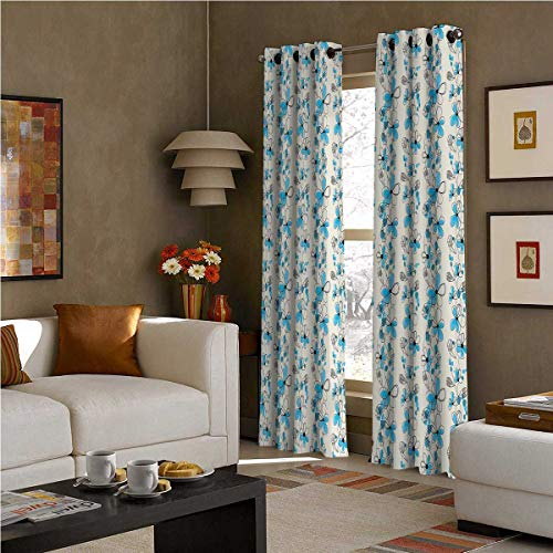 SOSO-LALEO Grey and Blue Room Darkened Insulation Grommet Curtain Childish Drawing of a Field with Blue Daisy Petals and Skinny Stems W72 x L96 Inch Pale Grey Black Blue