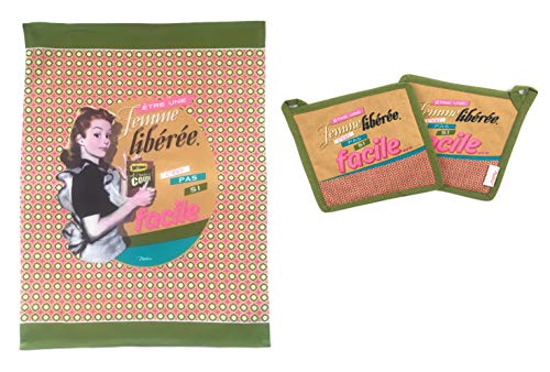 Natives 3-teiliges Küchenset aus 100% Baumwolle, Zwei Topflappen & EIN Küchentuch mit Retro/Vintage Druck (Femme Libérée)