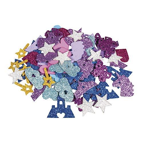 Rayher 30230000 Moosgummi Märchen Mix Glitter, 3 - 4 cm, 80 Stück, selbstklebend, Farben/Motive gemischt, Glitter Schaumstoff Sticker, Moosgummi-Aufkleber, zum Dekorieren