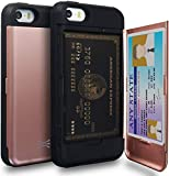 TORU CX PRO Compatible with iPhone 5/iPhone 5S/iPhone SE 2016 Wallet Case - Protective Dual Layer Wallet with Hidden Card Holder + ID Card Slot Hard Cover & Mirror - Rose Gold
