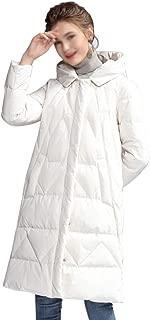 ZYDP Women Hooded Knee Length Down Jacket Zipper Plus Size Down Coats for Winter (Color : Beige, Size : XL)