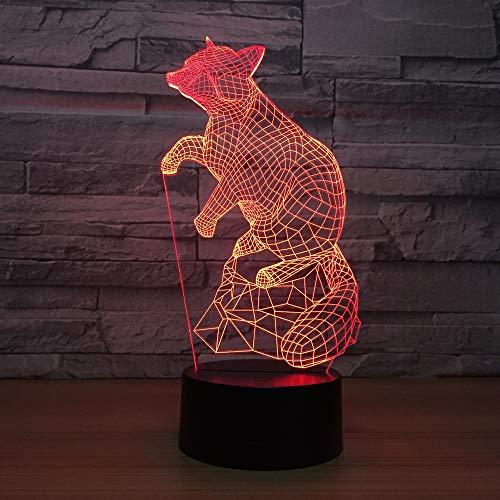 jiushixw 3D acryl nachtlampje met afstandsbediening van kleur veranderende tafellamp Fox Mouse Night Creative Control kinderkamer tafellamp Ginger met oranje Shadow