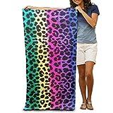 Gebrb Serviette de Bain, Serviettes de Toilette, Rainbow Colorful Stripe Leopard Animal Print Premium Polyester Travel Large Towel for Beach Blanket Cover Tent Floor Yoga Mat 31.5' X 51.2',Quick Dry