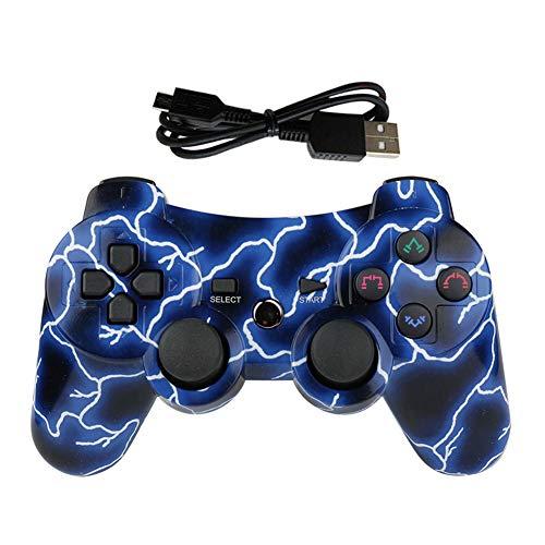 Lioeo PS3 Controller Wireless Gamepad für Playstation 3 Bluetooth Game Controller Fernbedienung Unterstützung PS3 (Lightning Blau)