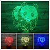 3D Panda Night Light Animal Table Desk Optical Illusion Lamps 7 Color Changing Lights LED Table Lamp Xmas Home Love Birthday Children Kids Decor Toy Gift