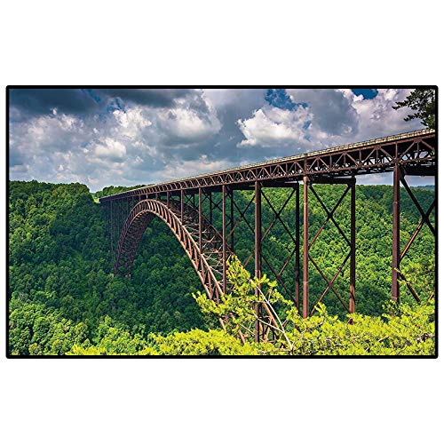 Apartment Decor Collection outdoor rugs for patios outdoor area rug The New River Gorge Bridge Seen from Canyon Rim Visitor Center Overlook Image for Layered Door Mats Porch/Kitchen/Farmhouse Green Bl