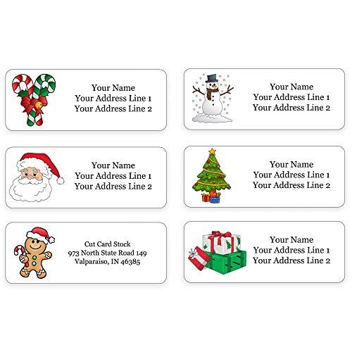 Personalized Return Address Labels - Christmas Themed and Design - 240 Labels - Made in The U.S.A. (240 Labels)