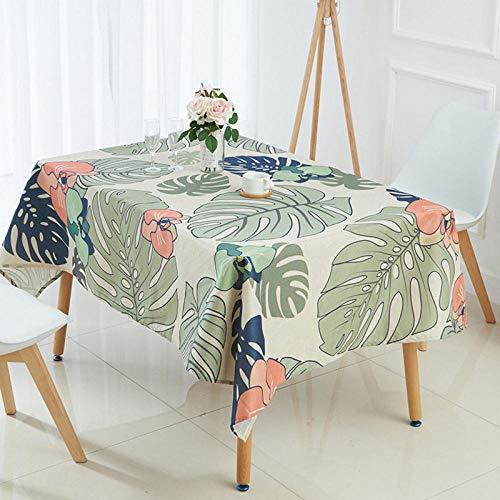 N/A Mantel de Cocina de poliester Mantel de Plantas Tropicales nordicas Hojas Mantel Impermeable Mantel Estampado de Palma Cubierta de Mesa de Comedor 140x160cm