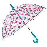 Paraguas Transparente Niña Lunares Fucsia Antiviento - Paraguas Infantil Cupula Dots - Detalles Azules y Ribete Plateado Reflectante - Automatico - PoE - 4/7 Años - Diametro 74 cm - Perletti Kids