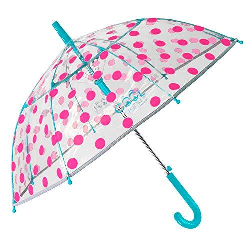 Gepunkteter Transparenter Regenschirm für Mädchen - Kinder Schirm Pink mit Reflektierenden Details - Sturmsicher Kinderregenschirm Automatik - 4 bis 6 Jahren - Durchmesser 74 cm - Perletti Cool Kids
