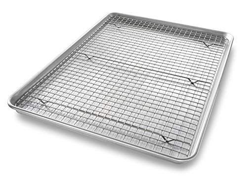 USA Pan Bakeware Extra Large Sheet Baking Pan and Bakeable Nonstick Cooling Rack Set, XL, Metal