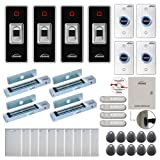 Visionis FPC-7843 Four Doors Access Control Electromagnetic Lock for Outswinging Door 300lbs TCP/IP Wiegand Controller Box, Indoor + Outdoor Fingerprint/Card Reader, Software, 10000 Users, PIR Kit