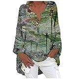 Blusas y Camisas de Manga Larga para Mujer con Cuello en V, 2021 Moda Camiseta de Lino de Gran Tamaño Sudadera Verano Camisa con Estampado de Girasol Túnica Tops Largos Sueltos(E Ejercito Verde,3XL)