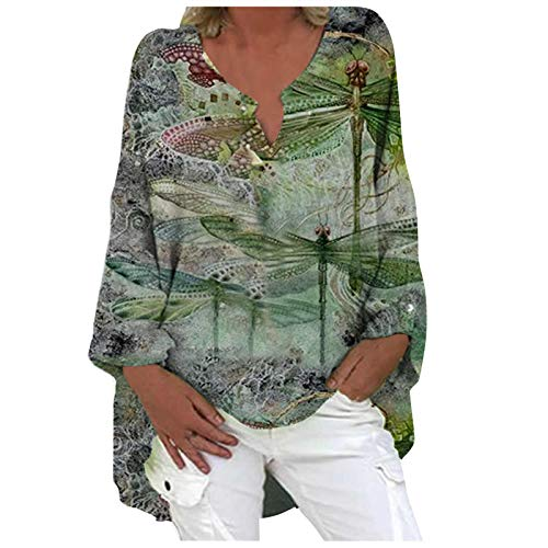 FMYONF Blusa de lino de gran tamaño para mujer, impresión elegante, manga larga, cuello en V, camiseta larga, túnica, suelta. Color verde militar. XXXL