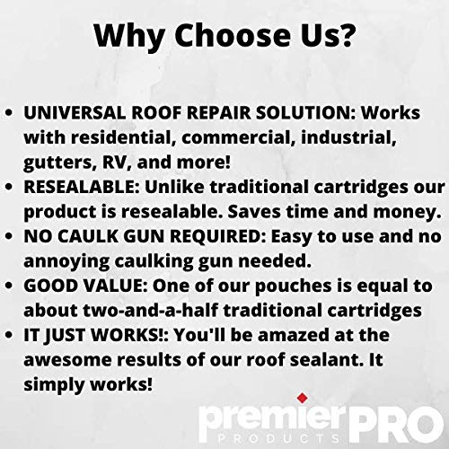 Premier Pro Products RV Roof Sealant | Universal Roof Repair Coating | Perfect for Residential Roofs, Commercial Roofs, RV Campers & More | Self Leveling Lap Sealant | Resealable 750ml Pouch (1)