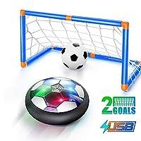 ホバーサッカーボールセットLEDライト充電式エアサッカーはバッテリーを必要としませんホバーサッカーは屋内サッカースキル2アップグレード目標を磨くことができます、幼児への贈り物