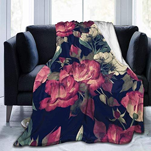 Manta con estampado floral sin costuras con rosas acuarelas, ilustración Vector, manta de cama y mantas 127 x 102 cm