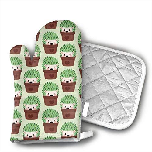 lymknumb Erizos ms pequeos disfrazados de Cactus Guantes de Horno de Cocina Guantes de Horno con Forro de algodn para Barbacoa Juego de Cocina Parrilla para Hornear