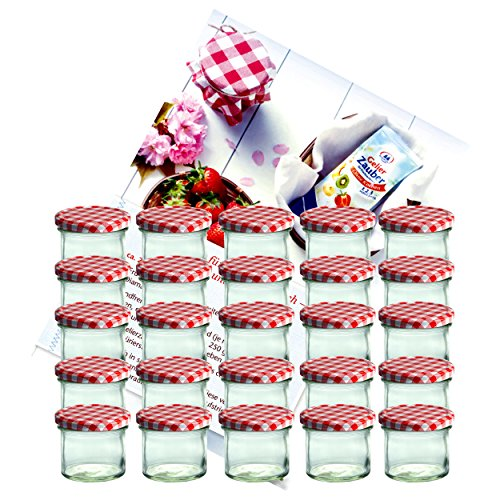 MamboCat 25er Set Sturzglas 125 ml Marmeladenglas Einmachglas Einweckglas to 66 rot Karierter Deckel incl. Diamant-Zucker Gelierzauber Rezeptheft