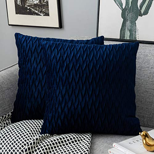 Yamonic Pack of 2 Cushion Cover Super Soft Velvet Pillow Covers Square Decorative Pillowcase for Sofa Bed Couch Bench, 16 x 16 inch, Navy blue