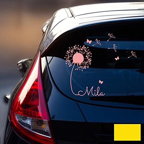 ilka parey wandtattoo-welt® Autotattoo Heckscheibenaufkleber Fahrzeug Aufkleber Sticker Baby Name Pusteblume M1864 - ausgewählte Farbe: *zitronengelb* ausgewählte Größe: *L - 32cm breit x 30cm hoch*