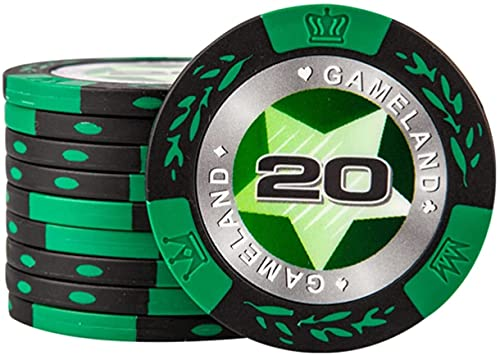 WSZYBAY Poker Chips with Denominations, 14 Gram Gambling Chips Ultra-Heavy, Monte Carlo Poker Chips for Texas Holdem Blackjack Gambling Casino Games (Size : 25PCS $20)