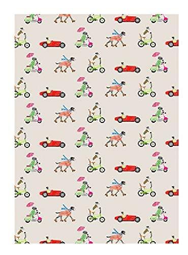Sally Scaffardi Design Geschenkpapier für Hunde, Autos und Fahrräder, wendbar, 1 Blatt