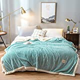 CXLT Decke Magic Velvet/Lammwolle Doppellagige Doppelseitige Multifunktionsdecke Superweiche Luxuriöse Bettdecke Plüsch Tagesdecke Alle Jahreszeiten Warmhalten Decken,Blue-Single:150x200cm(1.5kg