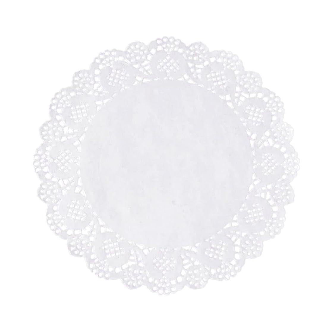 最も遠い精巧な受信Xigeapg 100枚白いレースラウンド小さなマットケーキ包装パッド結婚式の食器装飾