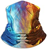N/A Multifunktionaler Nackenwärmer aus Fleece, wendbar, leicht, Winddicht, Ice and Fire Cool Dämonenwolf, Einheitsgröße