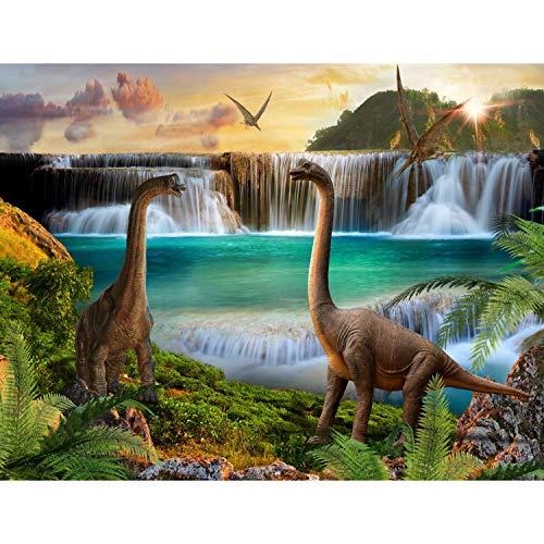 Runa Art Fototapete Dinosaurier Modern Vlies Wohnzimmer Schlafzimmer Flur - made in Germany - Grün Blau 9191010a