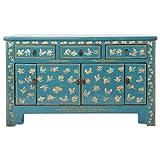 Fine Asianliving Aparador chino azul mariposas pintadas a mano ancho 140 x 38 x 88 cm alto mueble chino oriental, madera asiática 140 x 88 x 38 cm