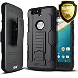 Nexus 6P Case, Starshop [Heavy Duty] Dual Layers Kickstand Case with [0.33m 9H Tempered Glass Screen Protector Included] and Locking Belt Clip (Black)