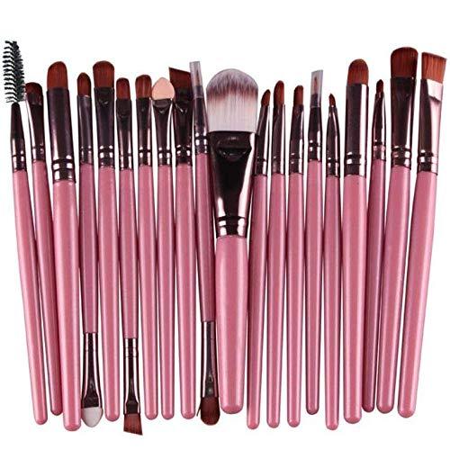 Fliyeong 20 pinceaux de maquillage Set poussière poussière ombre yeux Fondation Eyeliner Blush Correcteur à lèvres pinceaux cosmétiques (rose + brun)
