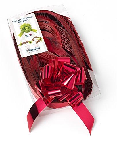 Brizzolari Schleifenbänder für Weihnachten, metallisch, 31 mm, 50 Stück, Rot