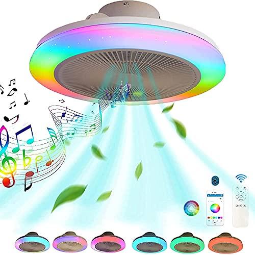 VOMI RGB Color Ventilador de Techo Luz con Mando a Distancia y Bluetooth Altavoz Lámpara de Techo Smart Música Fan Plafon LED Regulable Silencioso Invisible Ventilador Iluminación Luces Dormitorio 60W