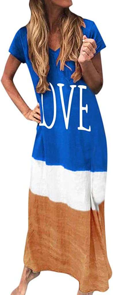 Dresses for Women Casual, Women Plus Size Daily Tie-Dyed Color Block Loose V-Neck Short Sleeve Maxi Dress