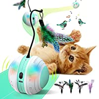 🐾 【KEEP CAT HEALTHY & STOP CAT OBESITY】 The primary purpose of the self rotating interactive cat toys ball is to have your pet chase the ball around and have fun. With just a single press of a button, the ball will start to do a 360 degrees self rota...