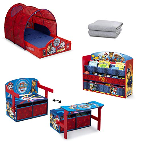 Nick Jr. PAW Patrol 4-Piece Toddler Bedroom Set by Delta Children   Set Includes: Sleep and Play Tent Toddler Bed, Deluxe Toy and Book Organizer, Convertible Bench/Desk and Sheet Set