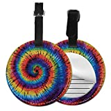 Tie Dye - Etiquetas redondas para equipaje de piel, diseño de espiral, para viaje, Negro (Negro) - Lp7bgrc-70456197
