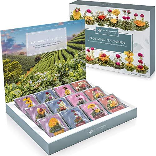 Teabloom Confezione Fiori di Tè - Selezione Fiori di Tè di Prima Qualità dai Giardini Più Belli del Mondo - 12 Varietà di Fiori di Tè in una Bellissima Confezione Regalo
